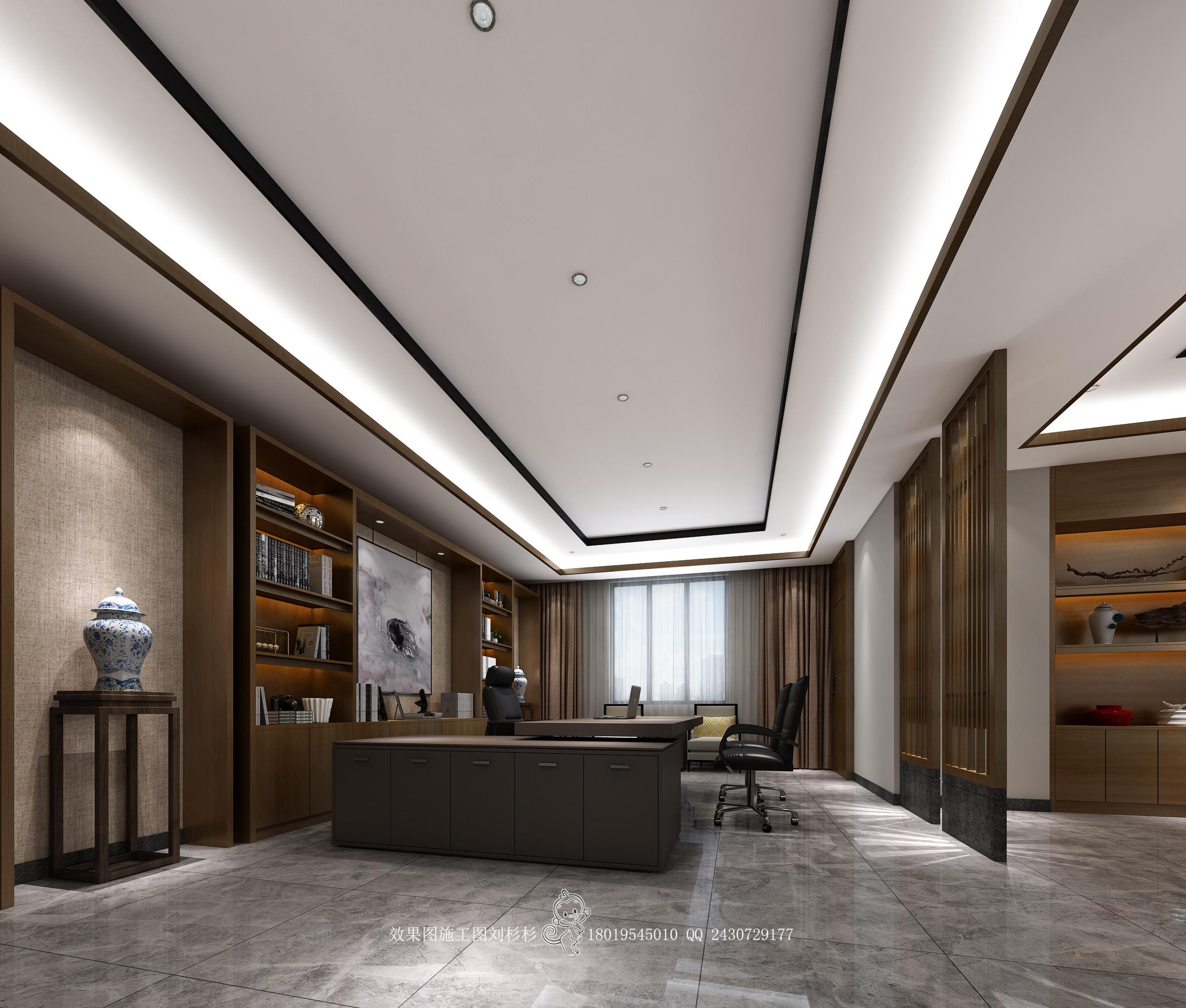 新中式高级办公室|空间|室内设计|天斐效果图刘杉杉