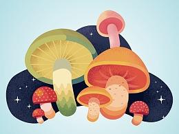 【练习篇】AI绘制质感蘑菇插画