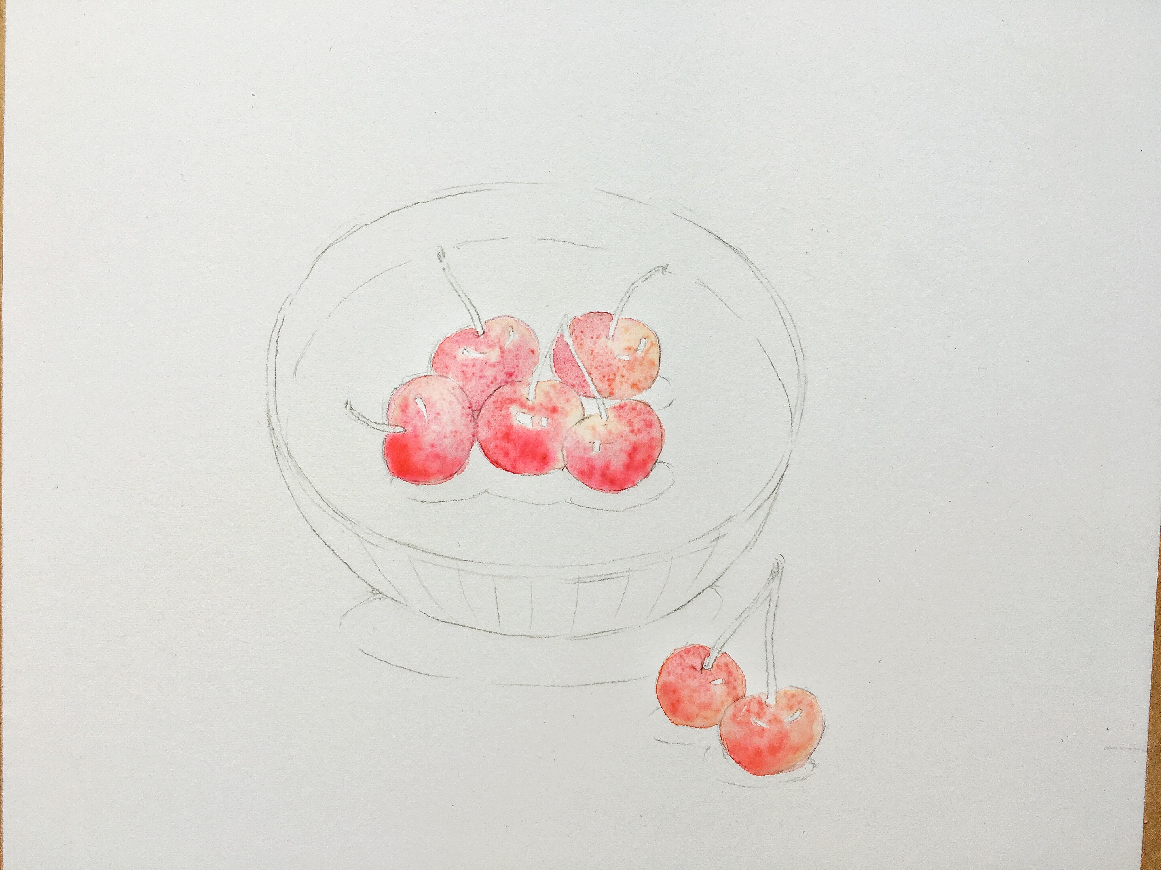 实物写生 手绘水彩画步骤 吃完画出来