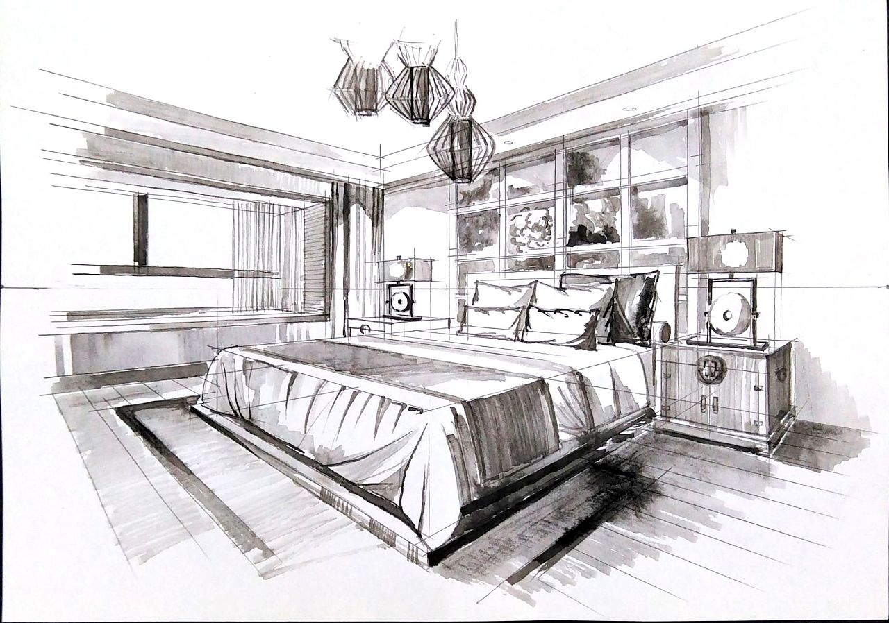 一叶手绘室内设计手绘线稿图片