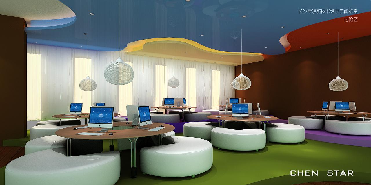 长沙范文新图空间学院阅览室概念设计 书馆 室内设计景墙景观设计说明电子图片