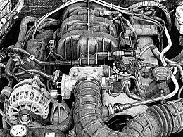 纪念我的第一台汽车,发动机写生