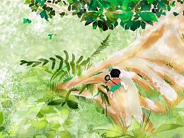 手绘树下乘凉之丛林探险治愈插画