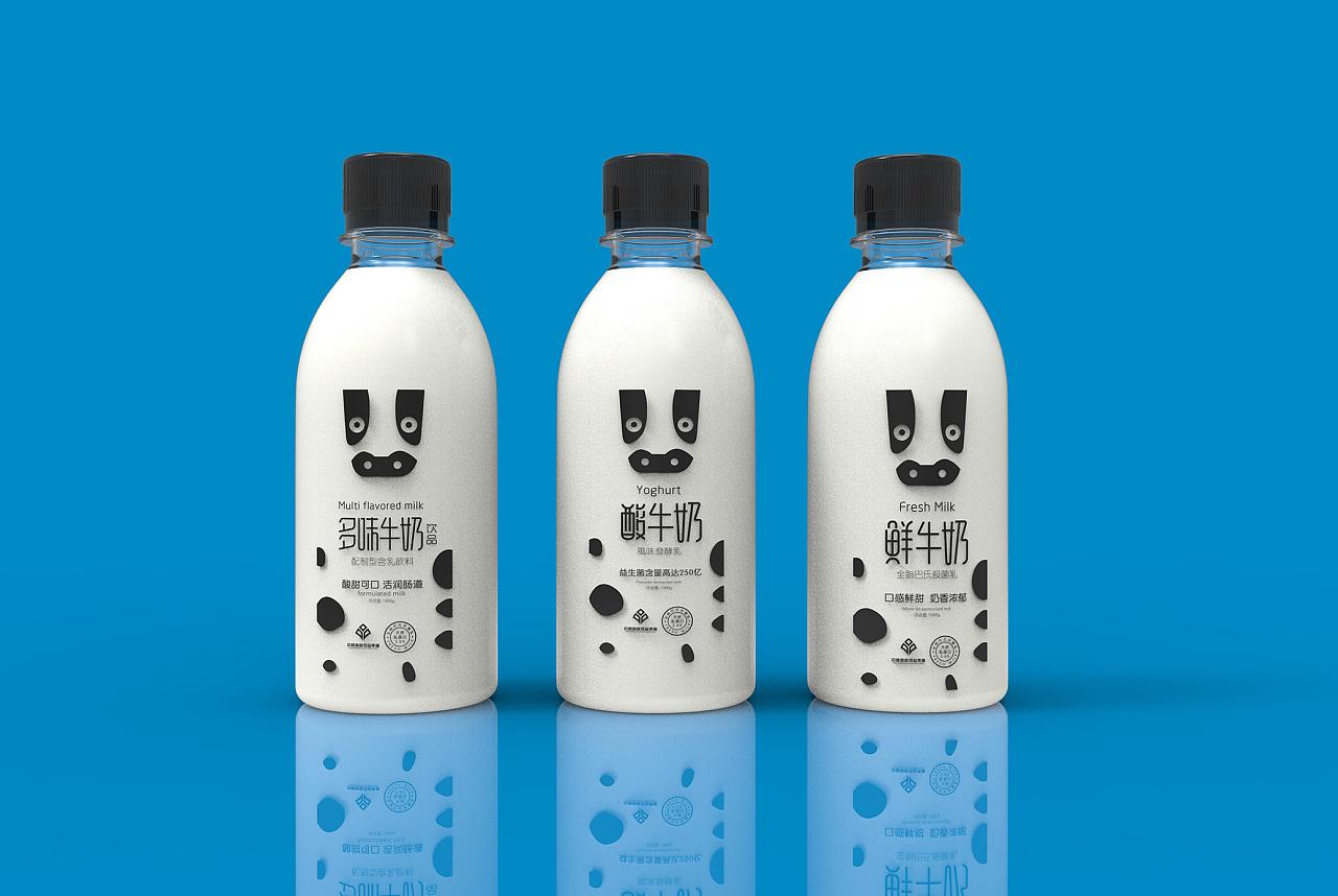 牛奶形象设计|字标 图形 包装|用心缔造乳品创意视觉图片
