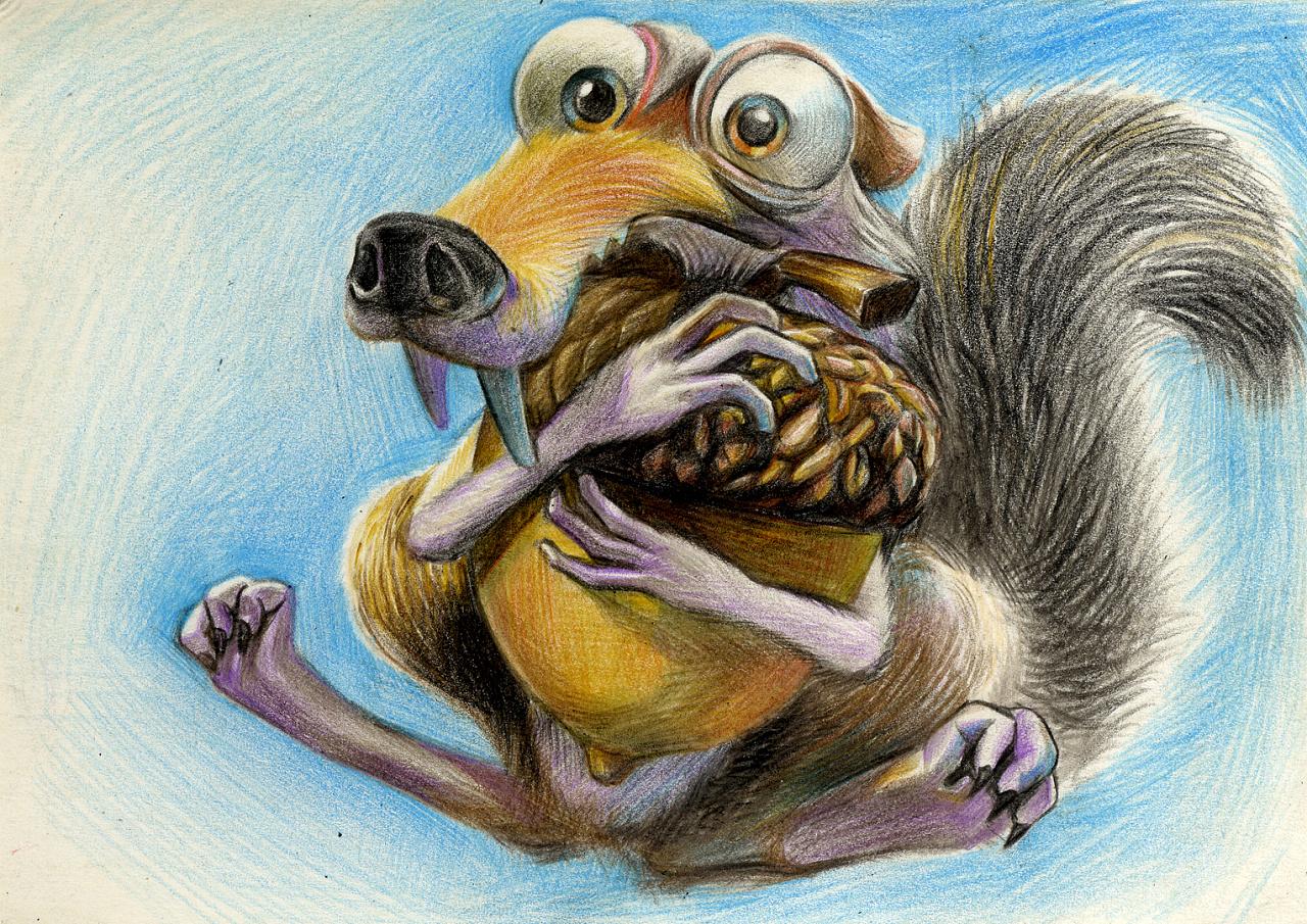 彩铅 手绘 明信片 飞屋环游记 小黄人 冰河世纪贱松鼠
