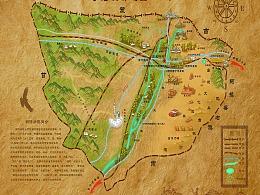额济纳旗旅游手绘地图
