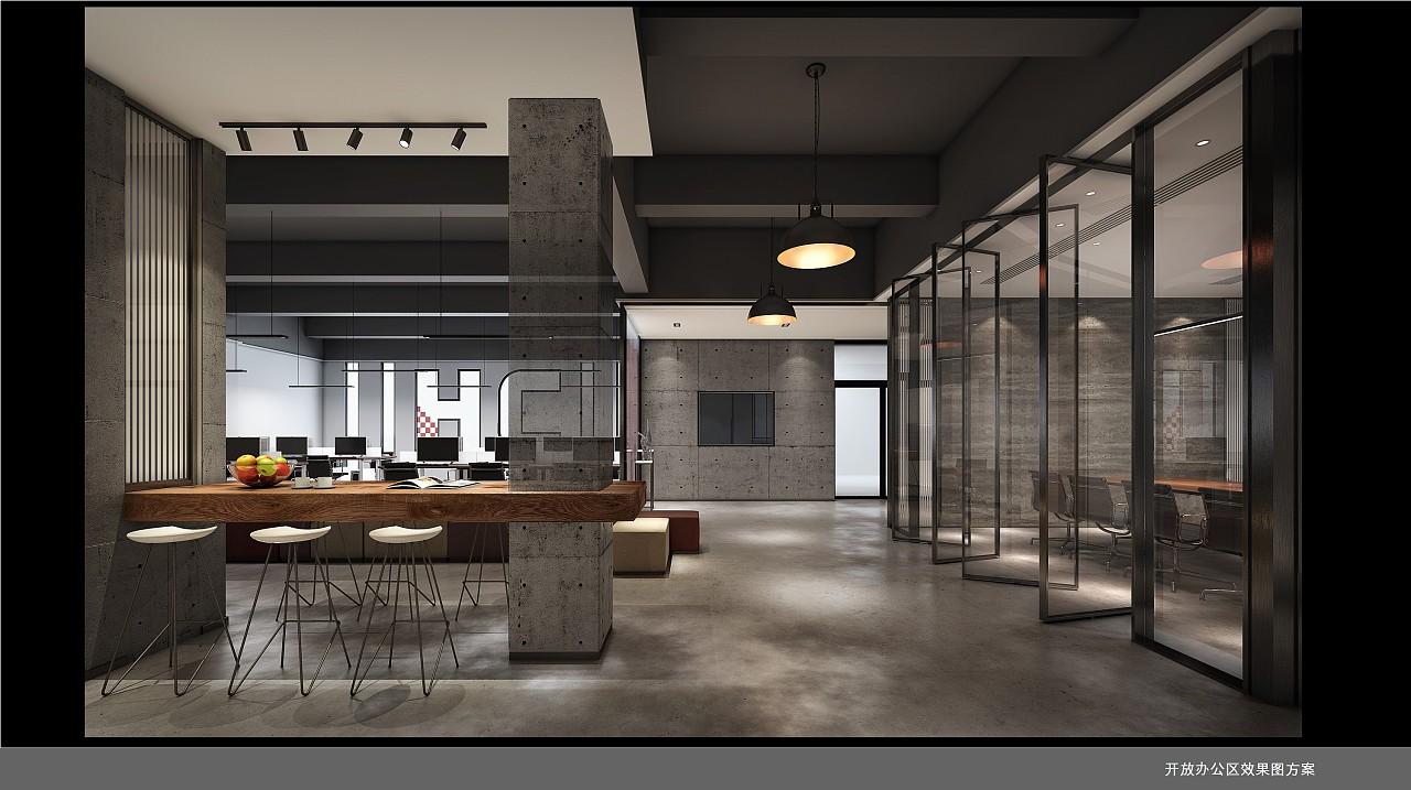 开放办公区及吧台位置效果图方案图片