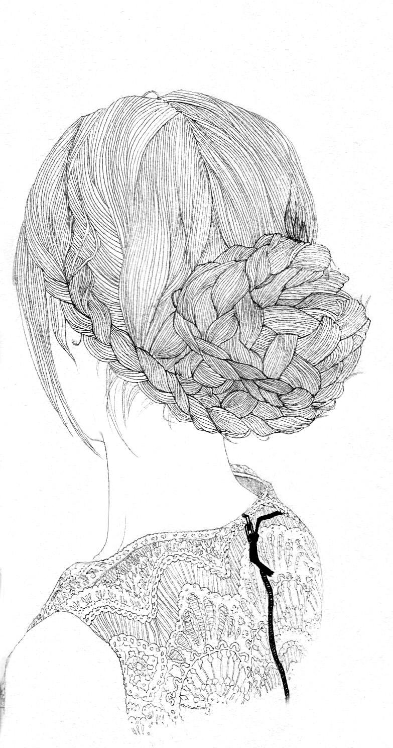 手绘黑白线条[编发]|绘画习作|插画|大思