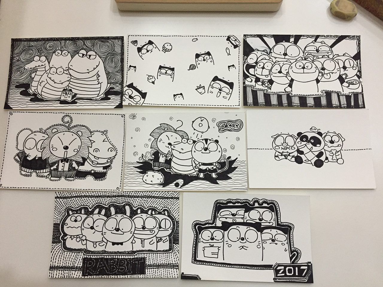 手绘明信片,原创小卡通