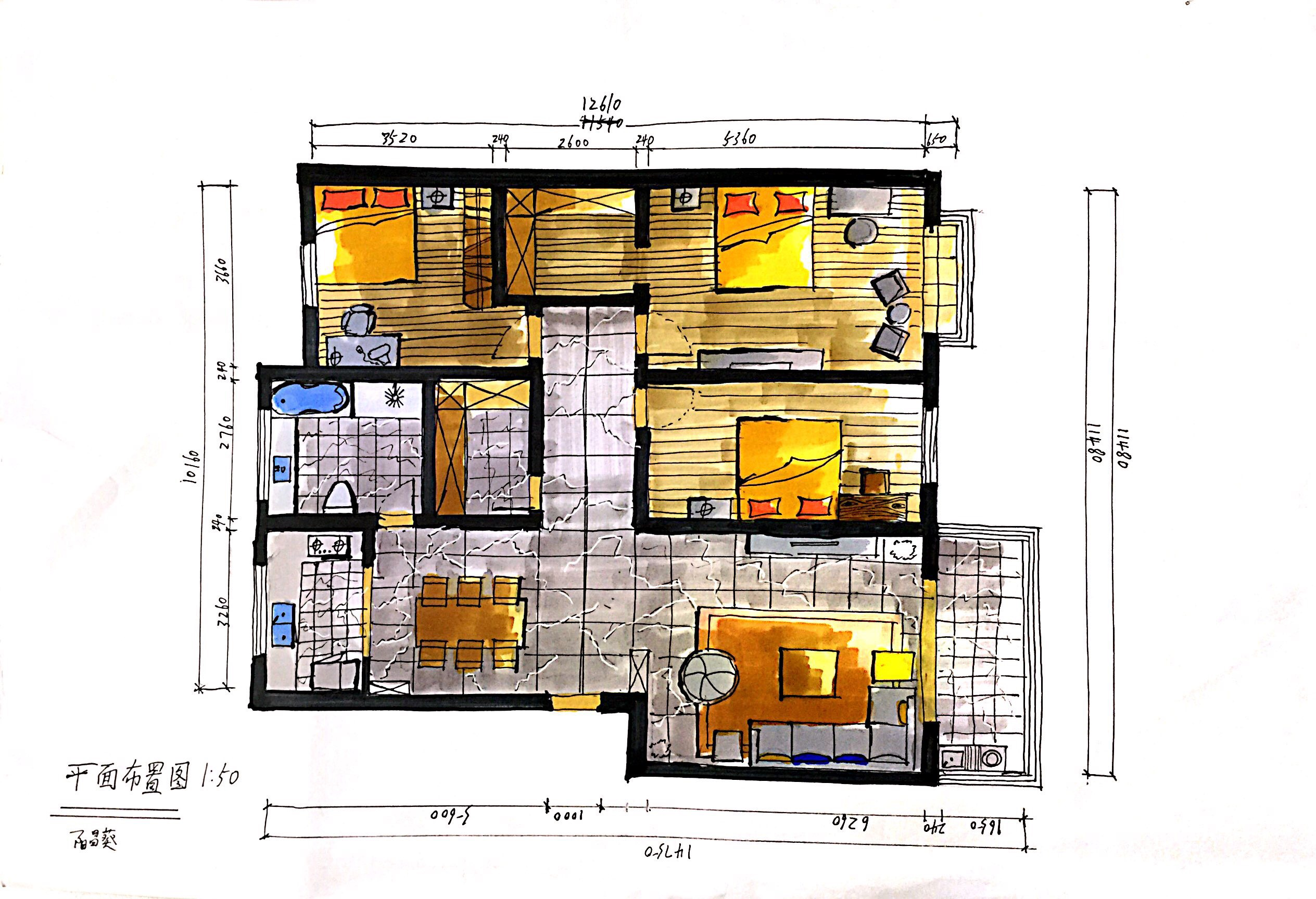 手绘|空间|室内设计|阳先生 - 原创作品 - 站酷