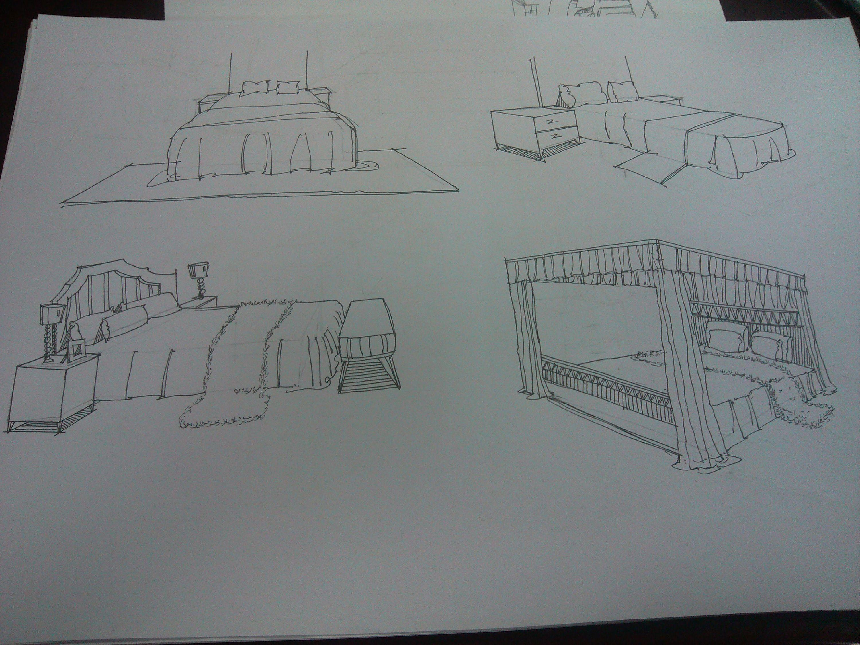 一组家具手绘图