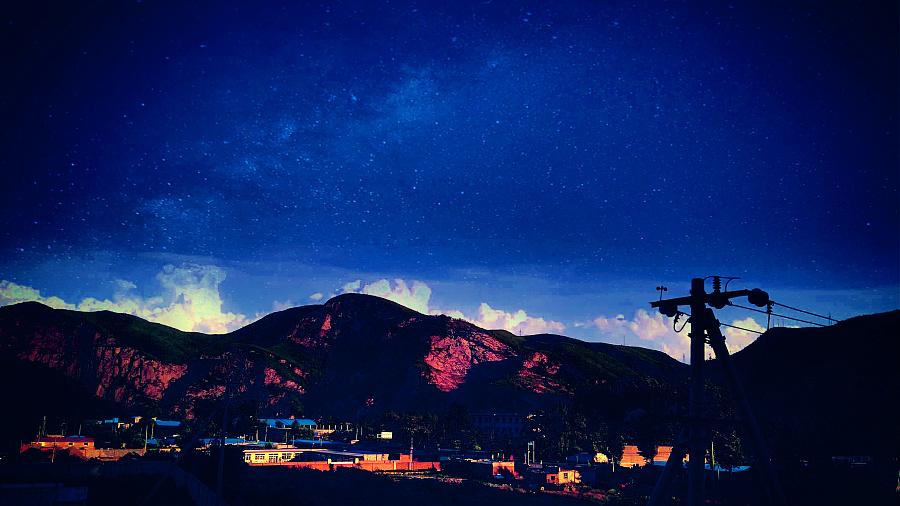 原创作品:傍晚星空图片