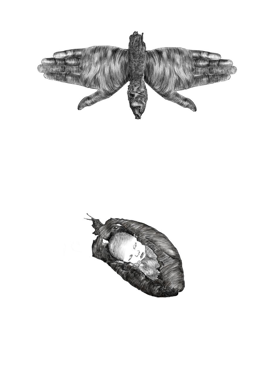 超现实黑白插画