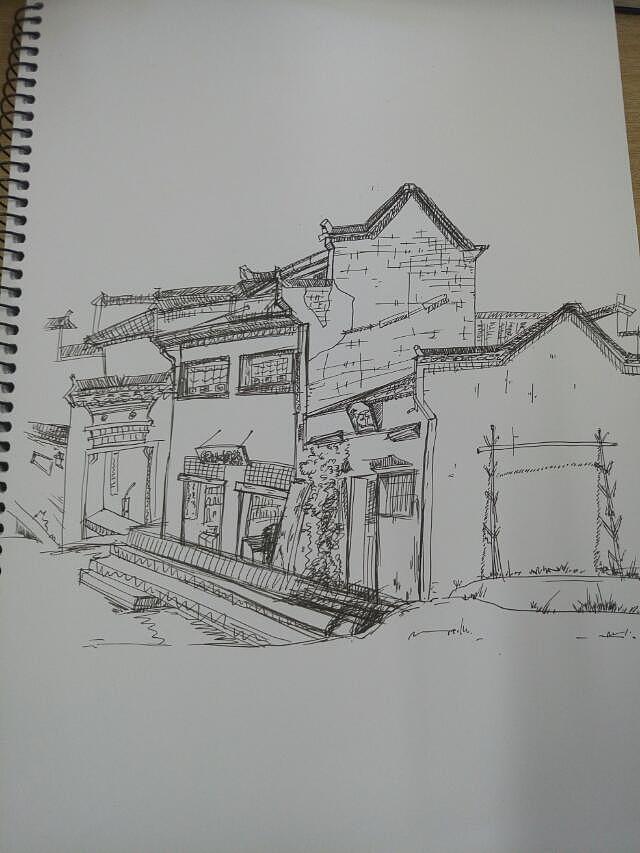 碳素笔风景手绘
