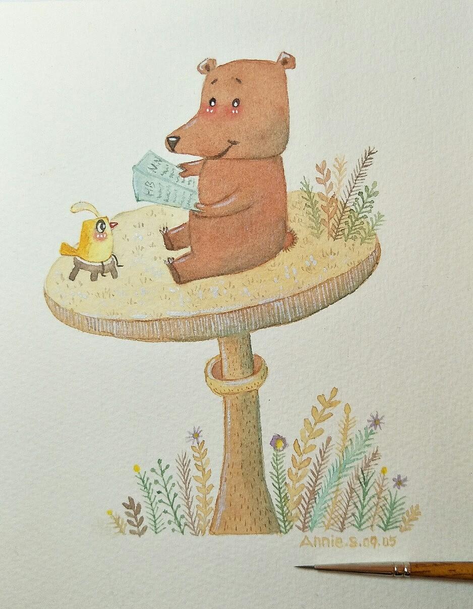 原创水彩手绘呆萌动物系列