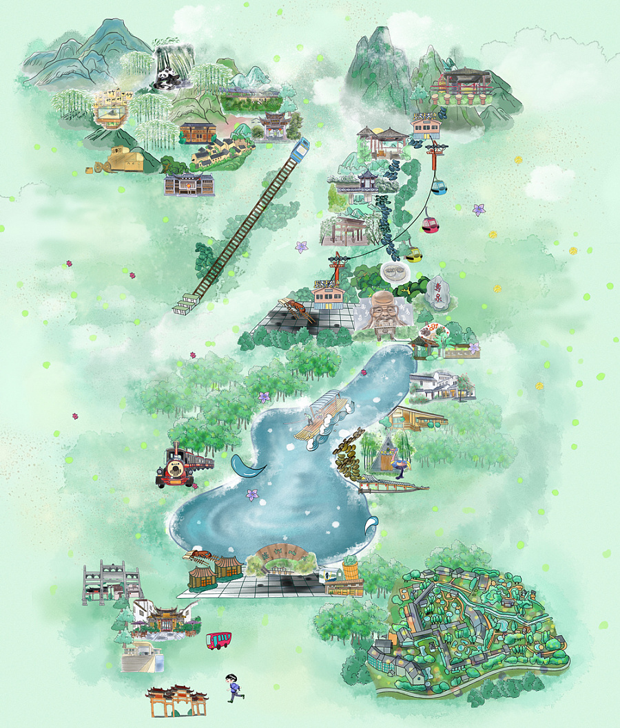 南山竹海手绘地图|商业插画|插画|藕盒笑笑生