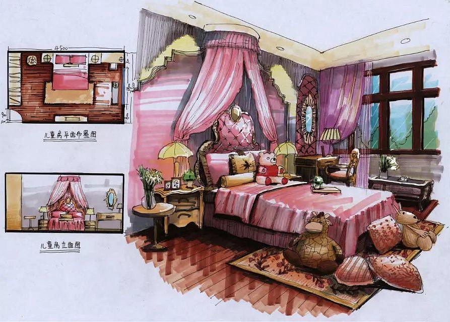 室内-手绘效果图|空间|室内设计|虞姬妹妹 - 原创作品