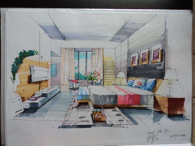室内手绘作品|室内设计|空间|村里的设计师 - 原创