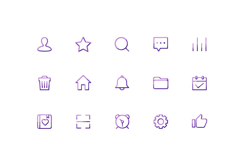 渐变线性Icon 日常随手ICON UI 图标 核桃得砸着吃