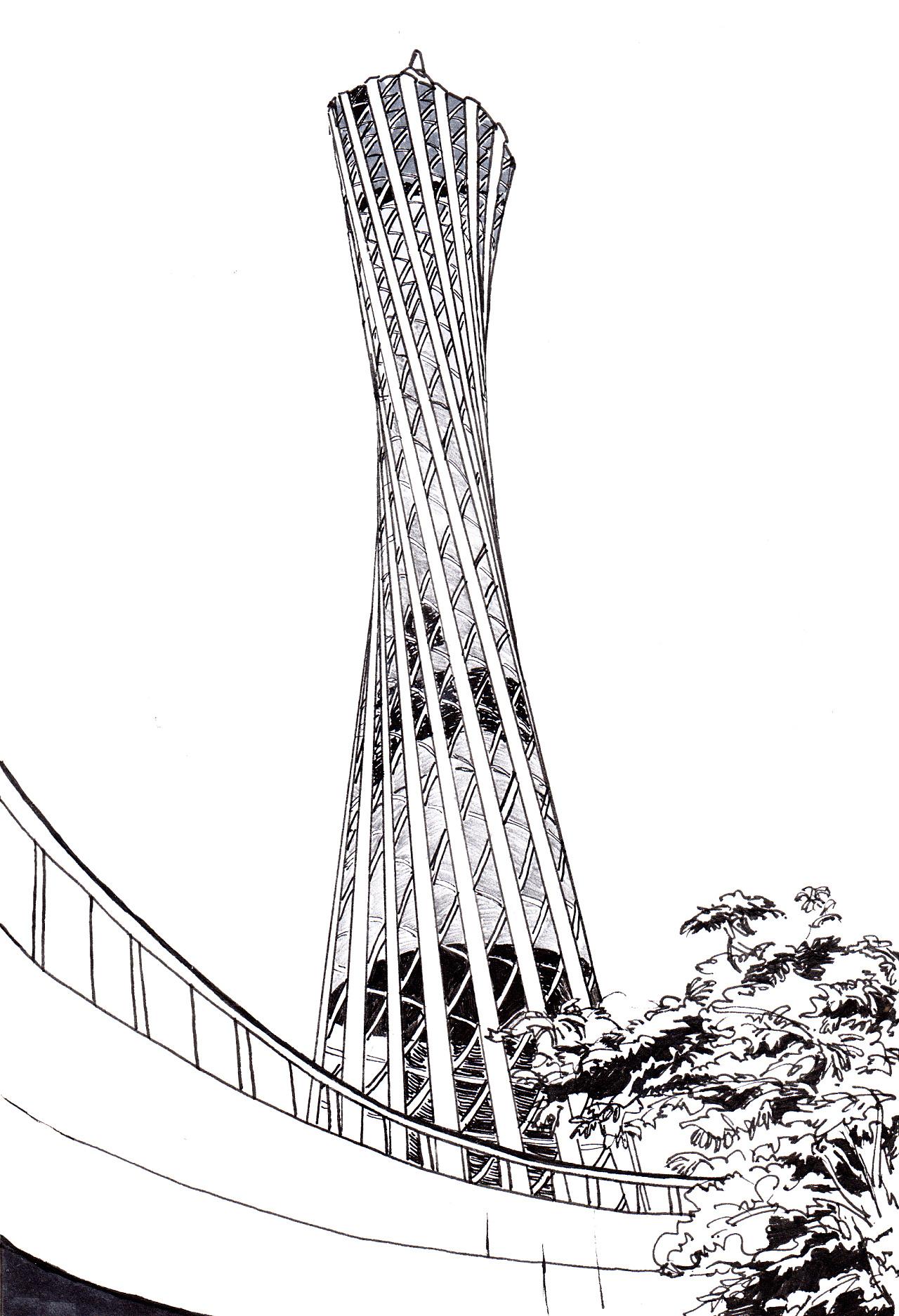 广州塔简笔画 手绘图