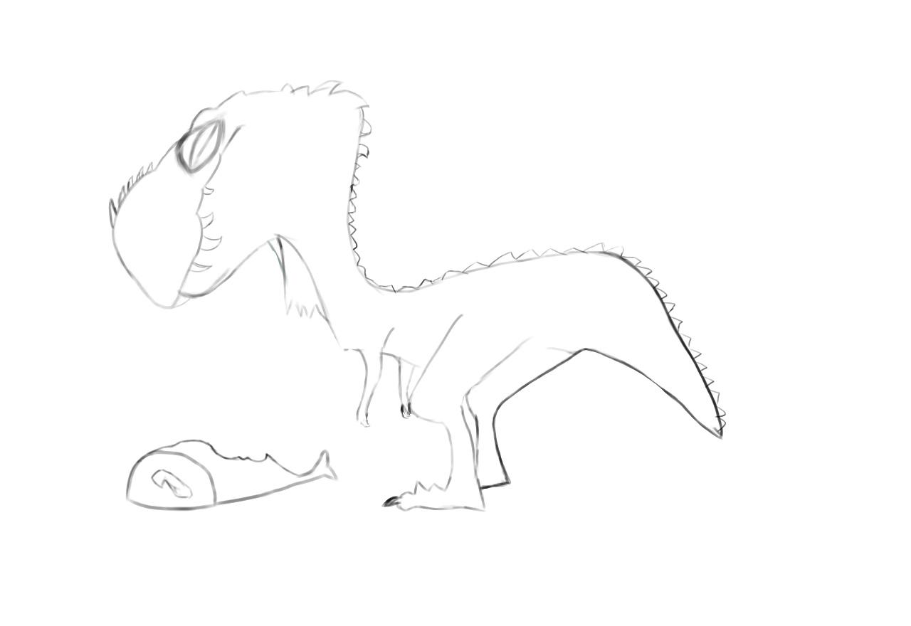 手绘练习-贱贱的小恐龙
