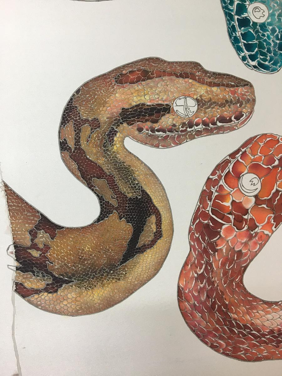 原创作品:真丝手绘蛇