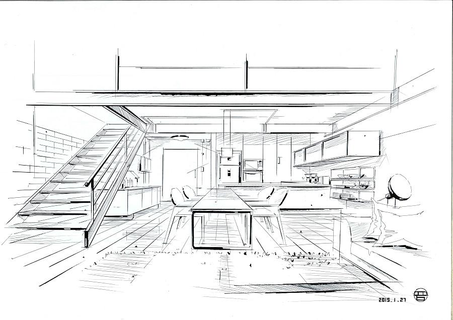 手绘线稿(室内)|室内设计|空间/建筑|qq479839493