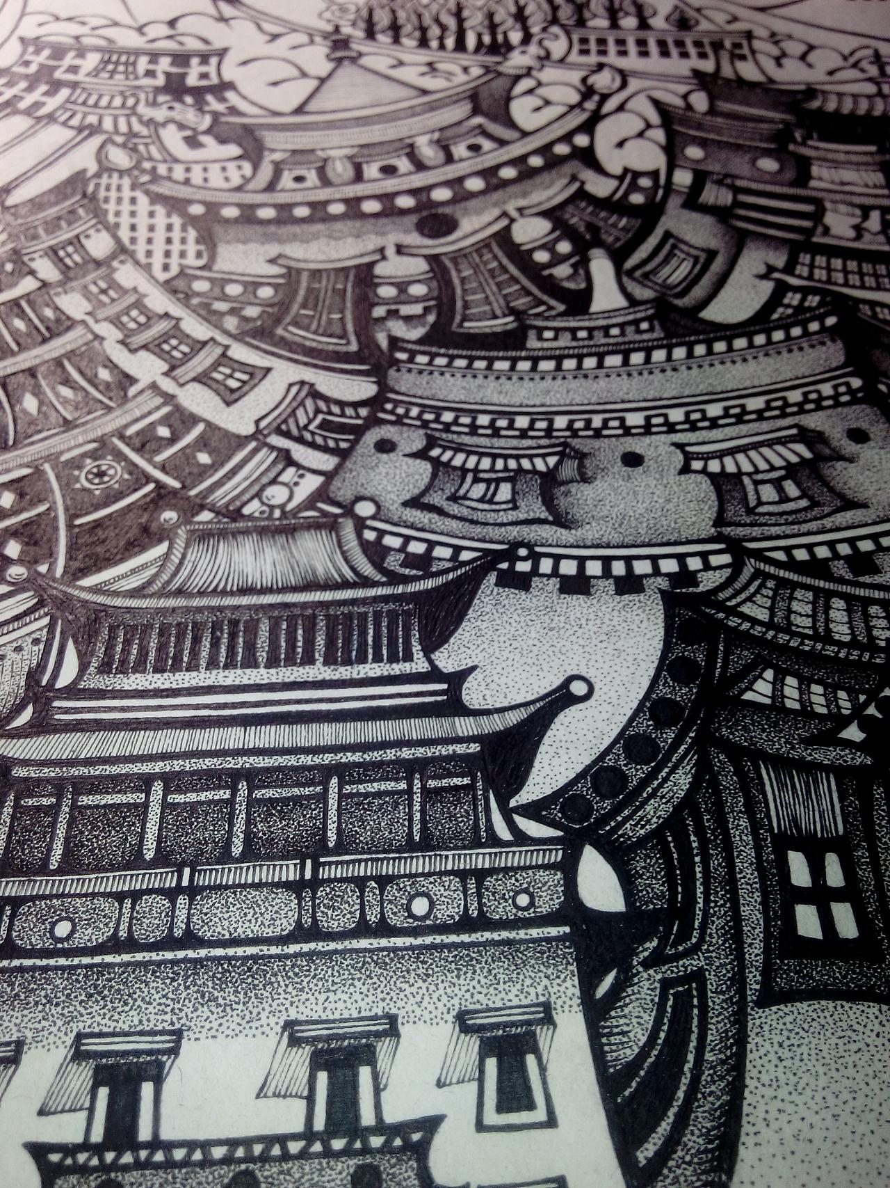 二时候画的几张钢笔画,感觉确实有了一点点进步,不论是布局还是精