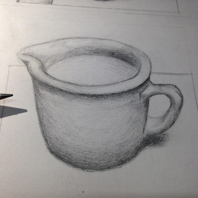 水杯铅笔手绘图片