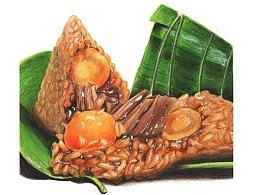 【驴大萌彩铅教程357】端午节蛋黄肉粽 手绘美食