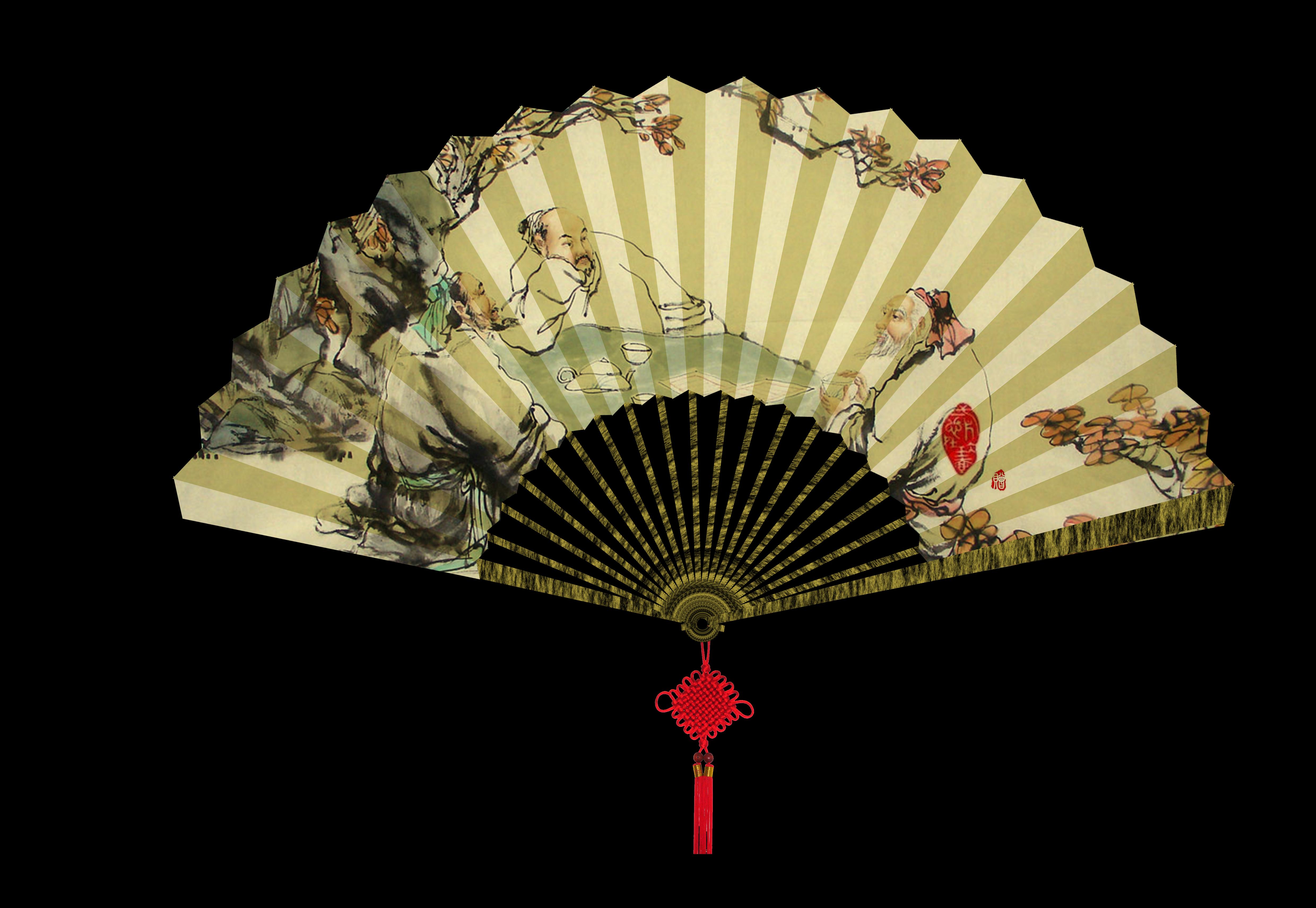 古色古香的扇面,坠着传统的中国结.