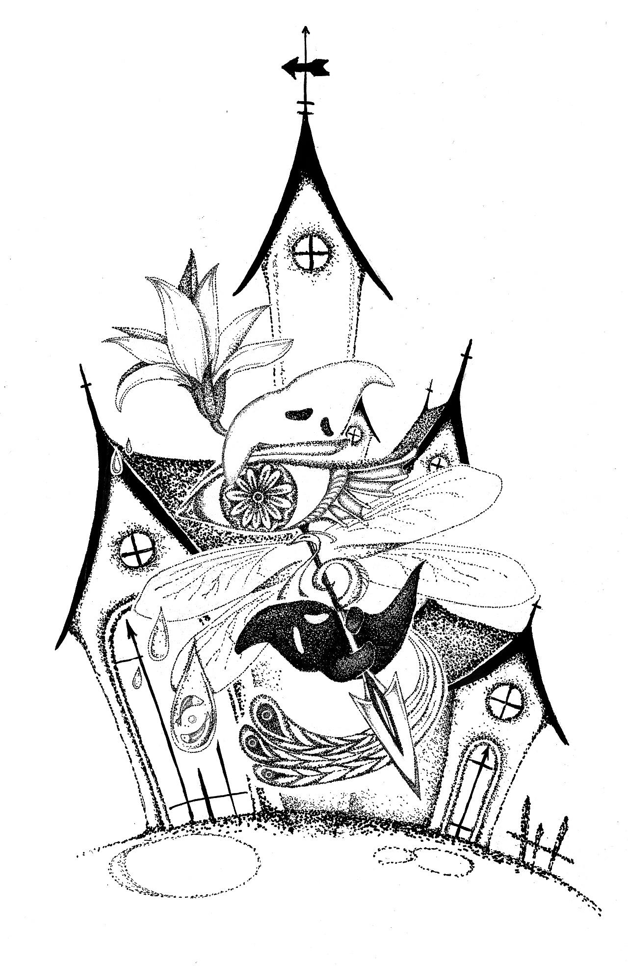 手绘插画| 黑白点阵