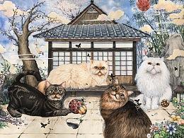 手绘喵星人——日式庭院