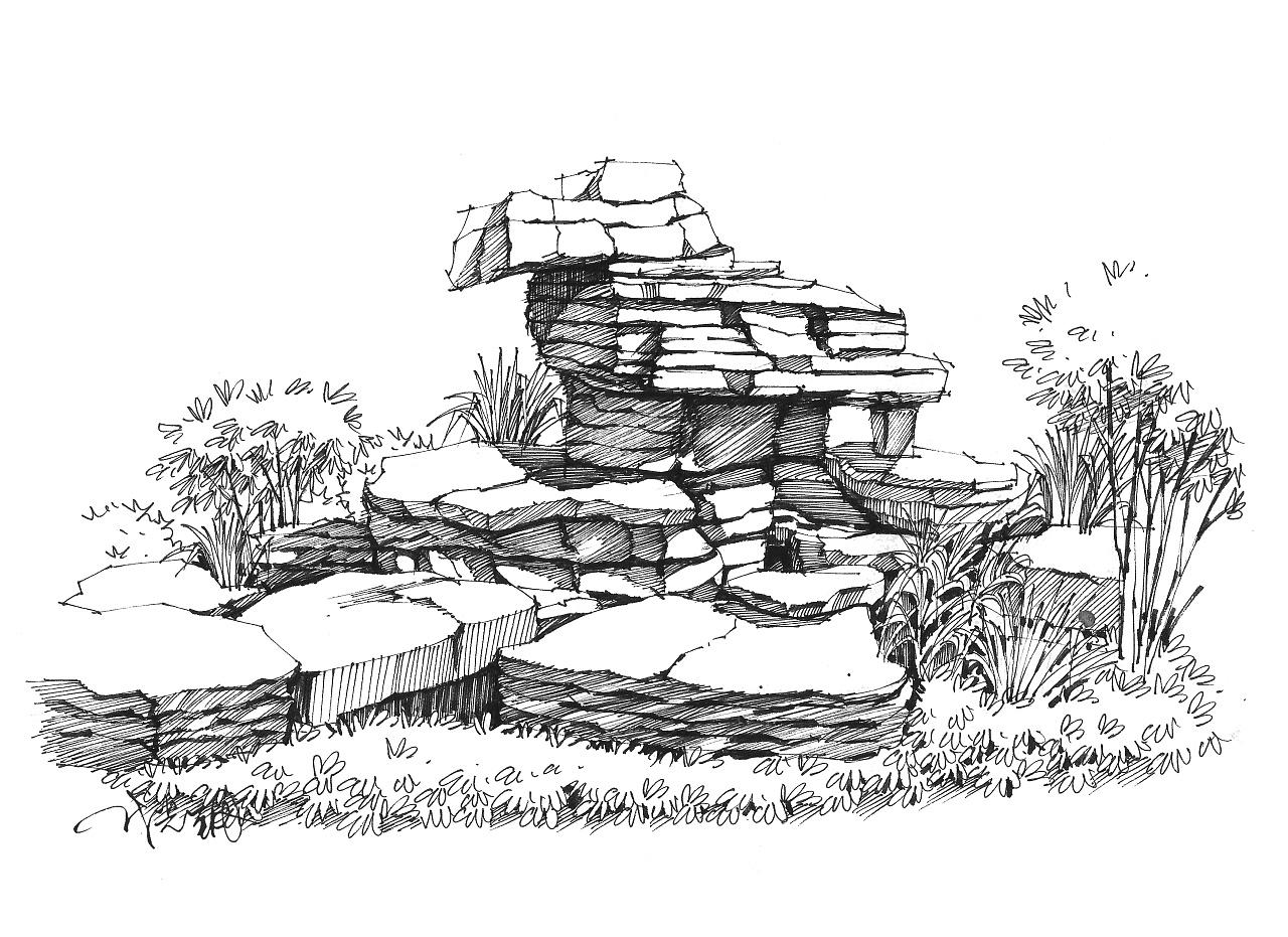 景观设计元素——石头与棕榈的故
