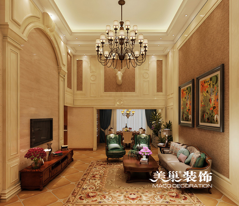 郑州银基王朝200平复式美式乡村风格装修效果