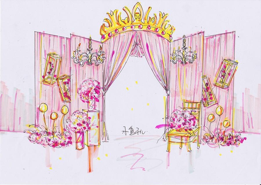 粉金公主风婚礼设计手绘|舞台美术|空间|_小鱼干儿
