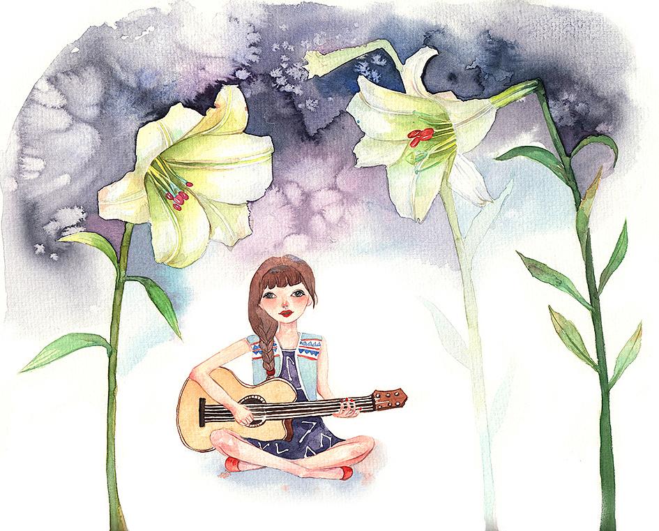 原创水彩教程:想把我唱给你听|插画|插画习作|小