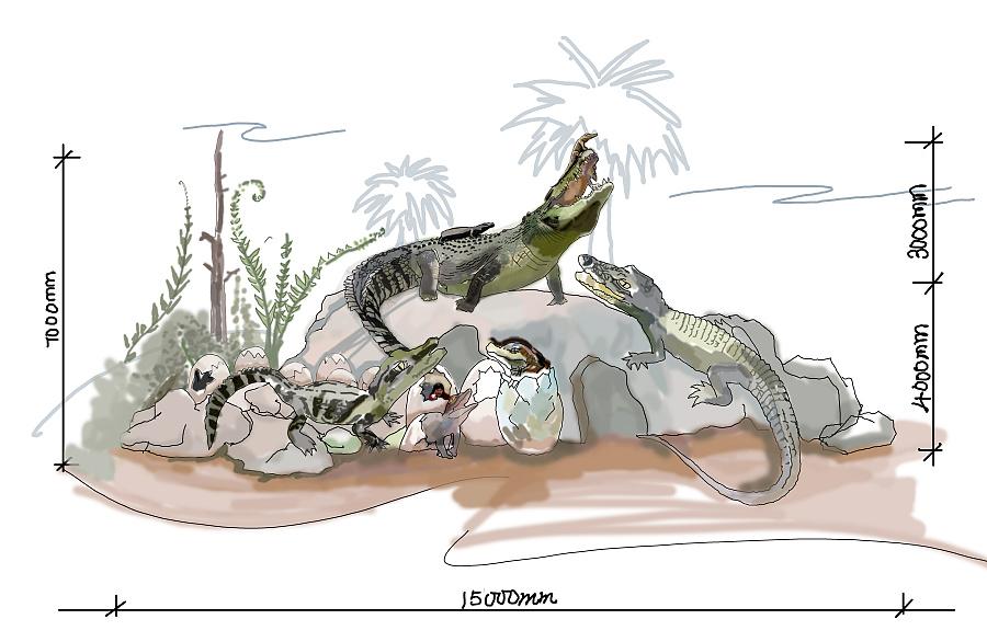 鳄鱼场景手绘设计|雕塑|纯艺术|yuquanbing - 原创