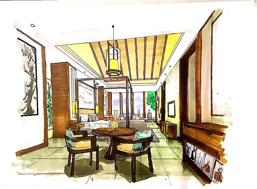 酒店室内手绘|其他空间|空间/