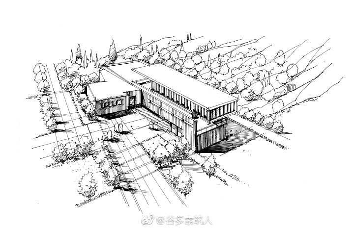 建筑鸟瞰图表现步骤|空间|建筑设计|谷多素筑人图片