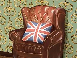 有墙布的沙发