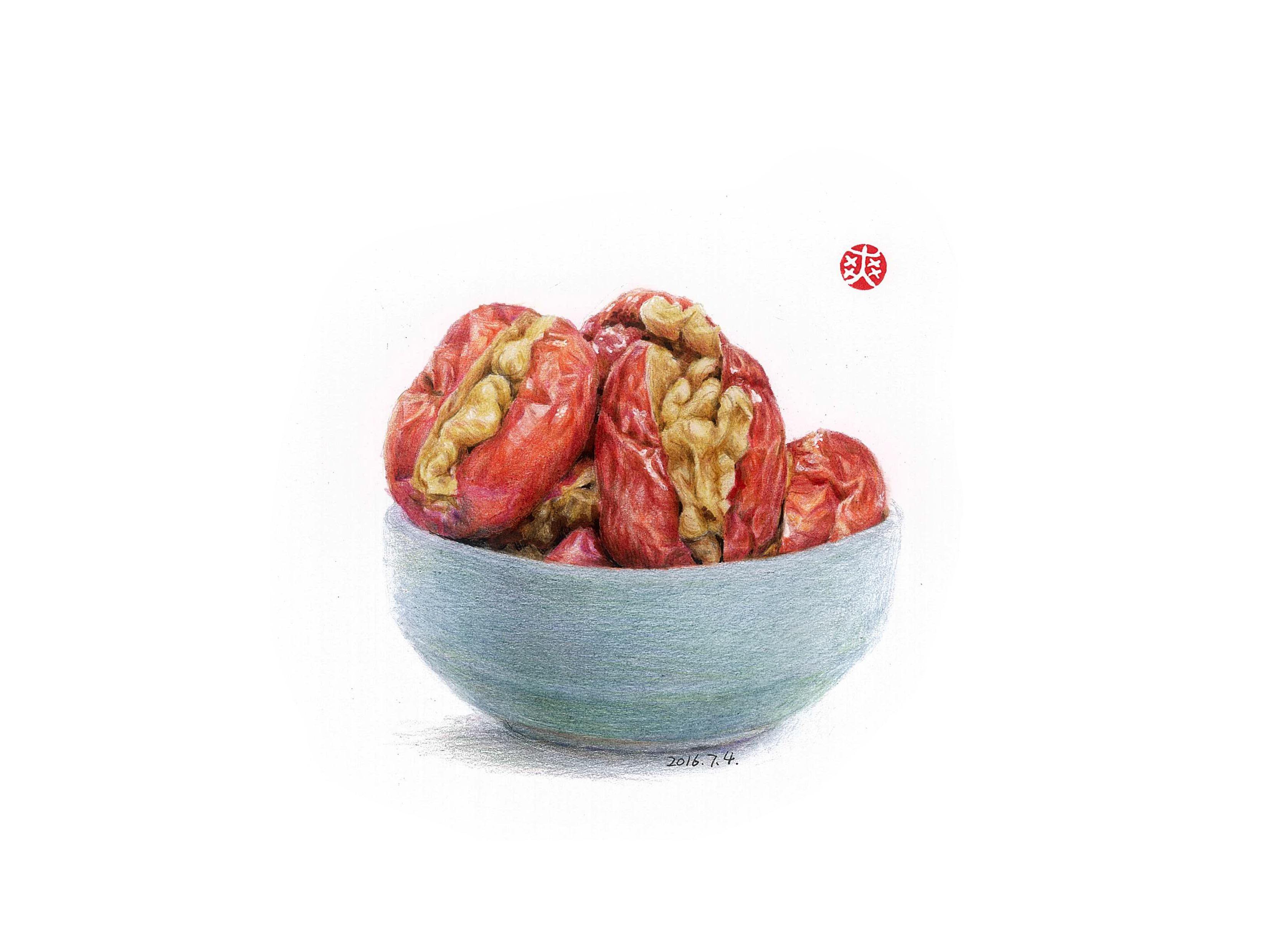 彩铅手绘—零食夹心枣