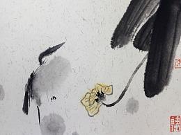 今日花开已一年。陈铁健国画写意水墨花鸟