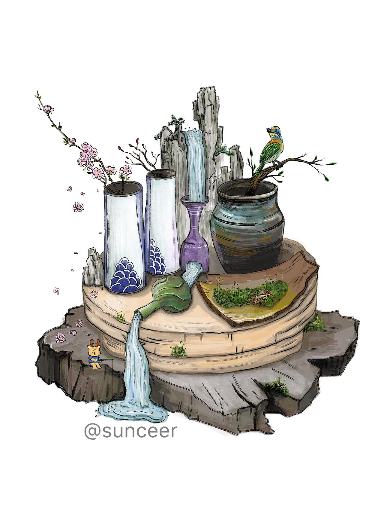 陶艺创意插画|插画|其他插画|sunceer - 原创作品图片