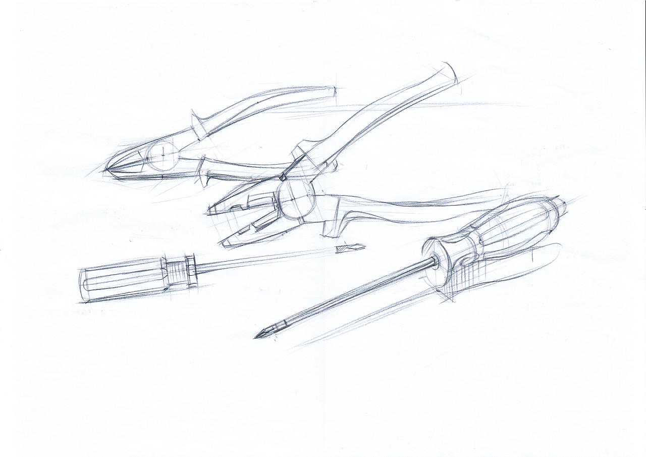 钳子与螺丝刀 产品设计手绘上色