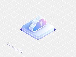 AI插画-渐变2.5D上传图形
