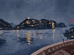 《乐山夜色》