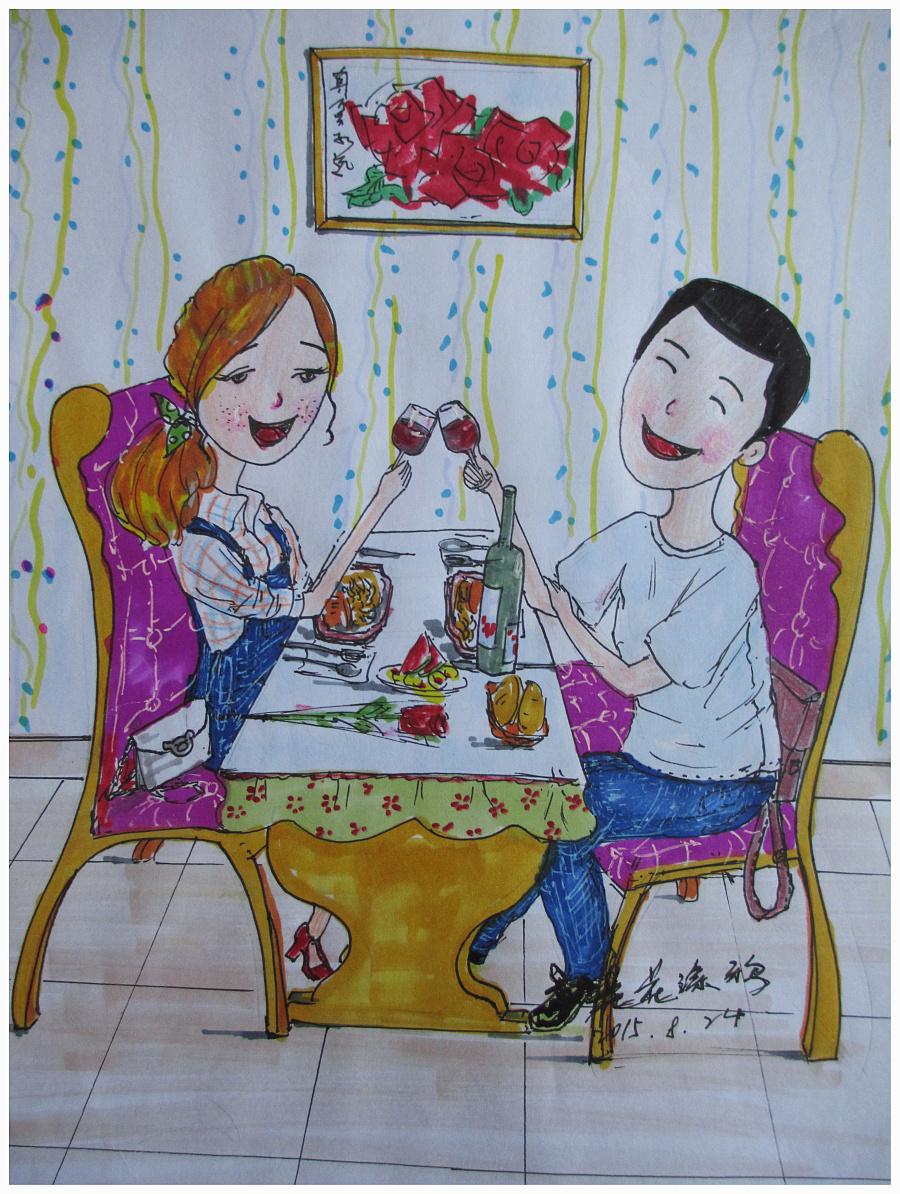 原创手绘情侣系列|插画习作|插画|花花涂鸦 - 原创