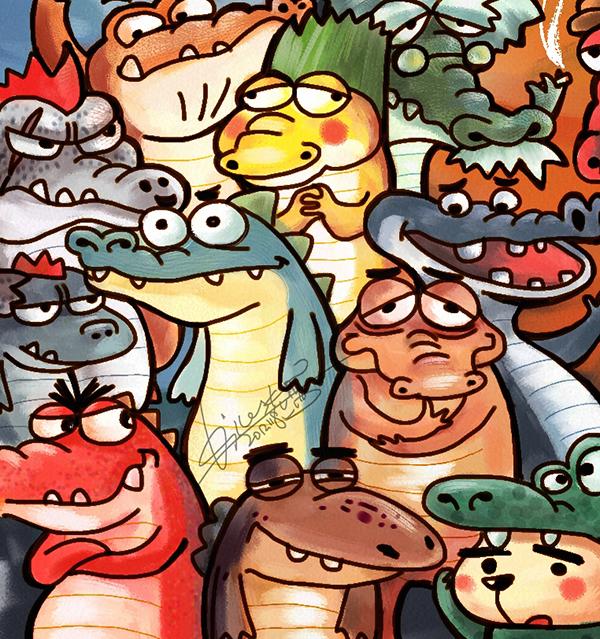 鳄鱼创意涂鸦手绘图片