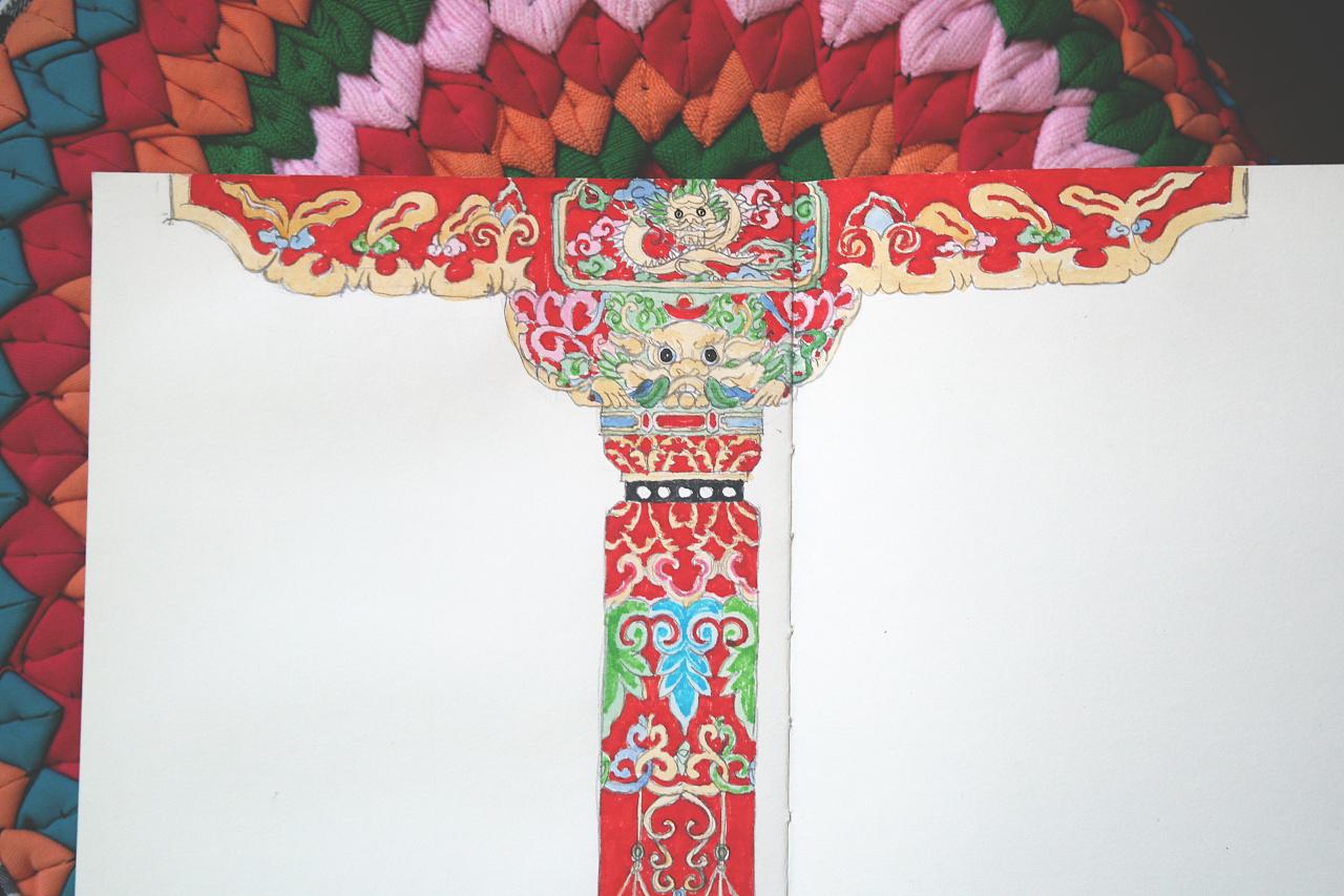旗袍服装纹样手绘高清